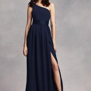 Vera wang one shoulder dress with satin sash.